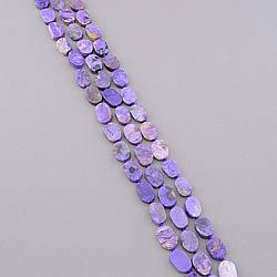 Заготівля для бус і браслетів нитка каменів чароїт намистини плоскі розмір каменю 15х10х3 мм