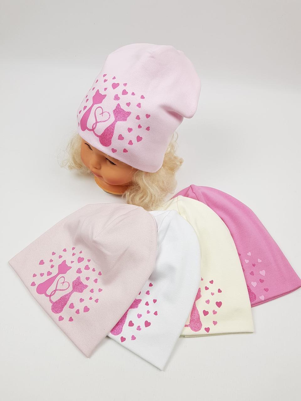 Детские польские демисезонные трикотажные шапки оптом для девочек, р.46-50, Ambra