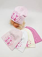 Детские польские демисезонные трикотажные шапки оптом для девочек, р.46-50, Ambra, фото 1