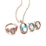 Комплект прикрас жіночий сережки, каблучку і ланцюжок з кулоном код 1743, фото 6