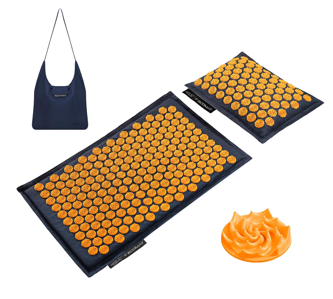 Килимок акупунктурний з подушкою 4FIZJO Eco Mat Аплікатор Кузнєцова 68 x 42 см 4FJ0229 Navy Blue/Orange
