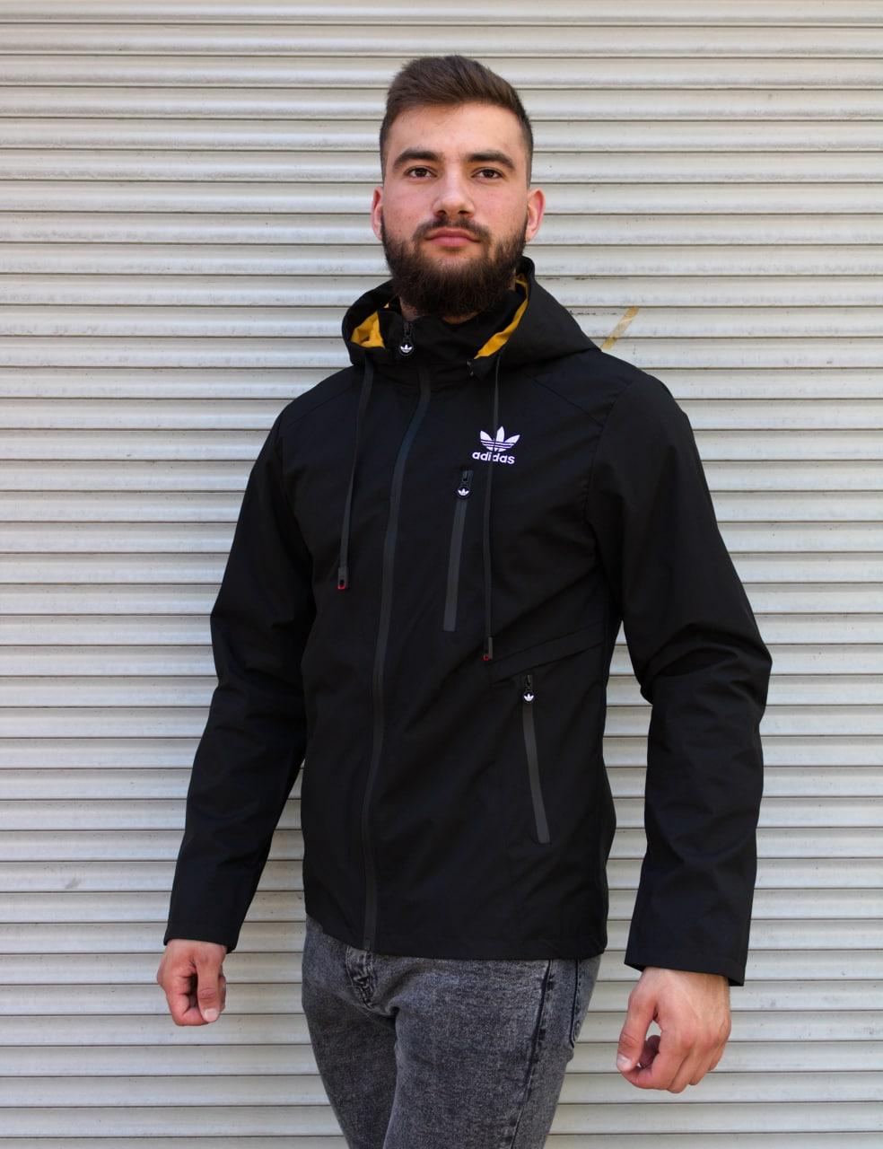 Чорна чоловіча вітровка Adidas | 100% поліестер | без утеплювача