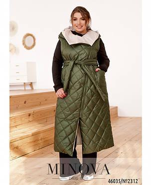 Довга стьобана жіноча жилетка на силіконі, колір Хакі, великого розміру від 48-50 до 68-70!!!, фото 2