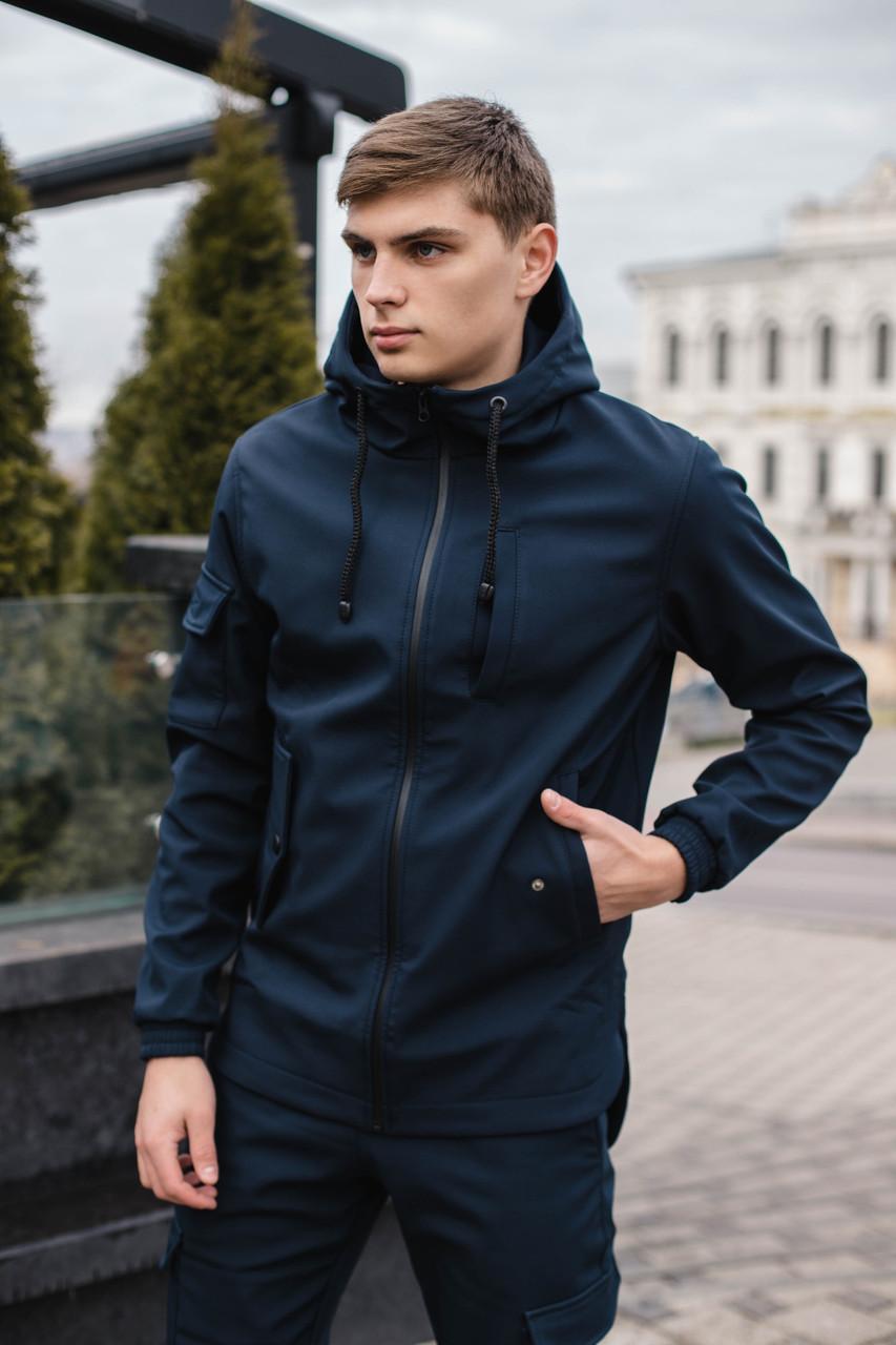 Мужская куртка демисезонная синяя