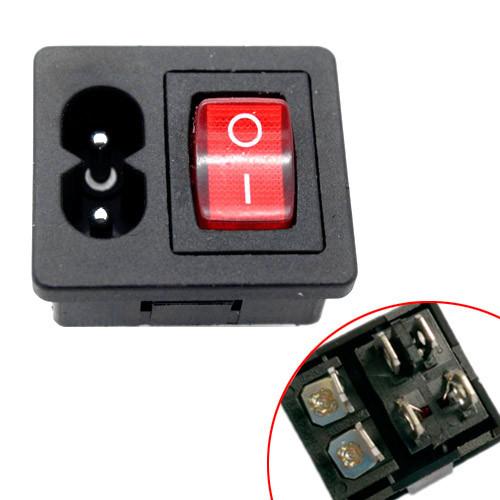 Разъем питания IEC С8 C7 2pin c переключателем тумблером 250В 2.5А