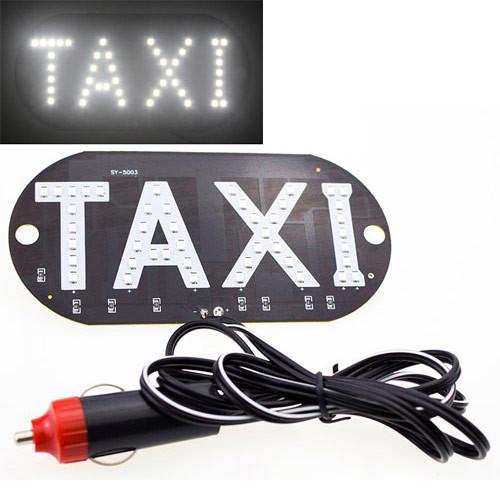 Автомобільне LED табло табличка Таксі TAXI 12В, біле в прикурювач
