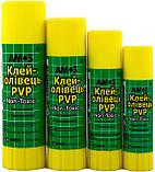 Клей-карандаш на PVP основе, 35 г, Amos, Am-3235, фото 2