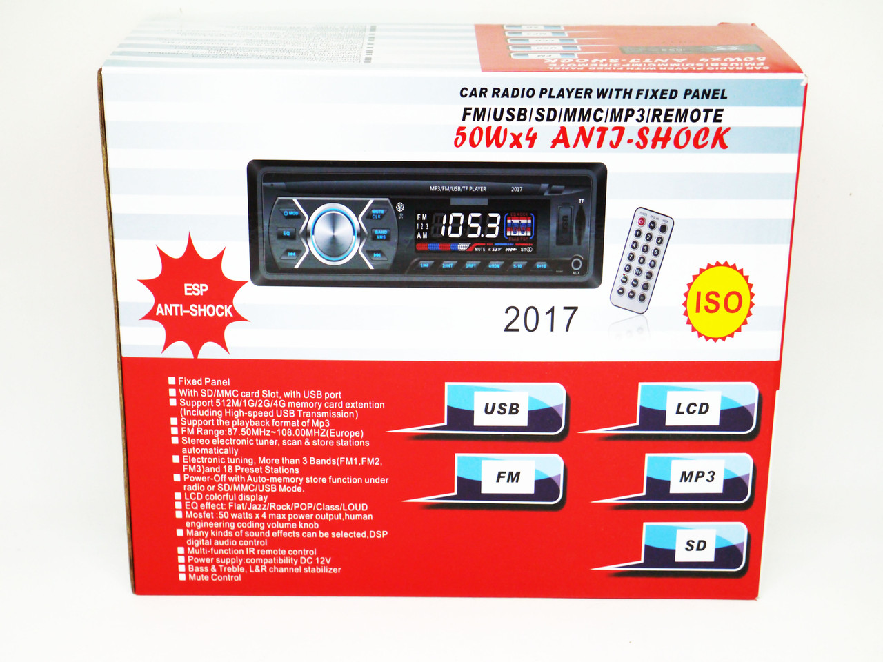 Автомагнитола Pioneer 2017 ISO USB+SD+FM+AUX+ пульт (4x50W)