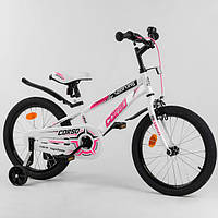Велосипед для девочки на 6-8 лет, 18 дюймов, бело-розовый (доп. колеса, ручной тормоз) CORSO R-18362
