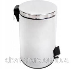 Корзина для сміття з педаллю 12 л, нержавіюча сталь глянсова