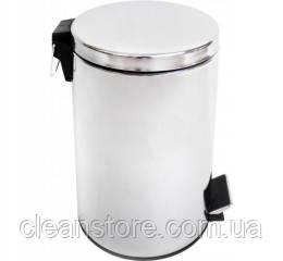 Корзина для сміття з педаллю 12 л, нержавіюча сталь глянсова, фото 2