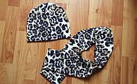 Демисезонный комплект шапка+шарф цвет леопард