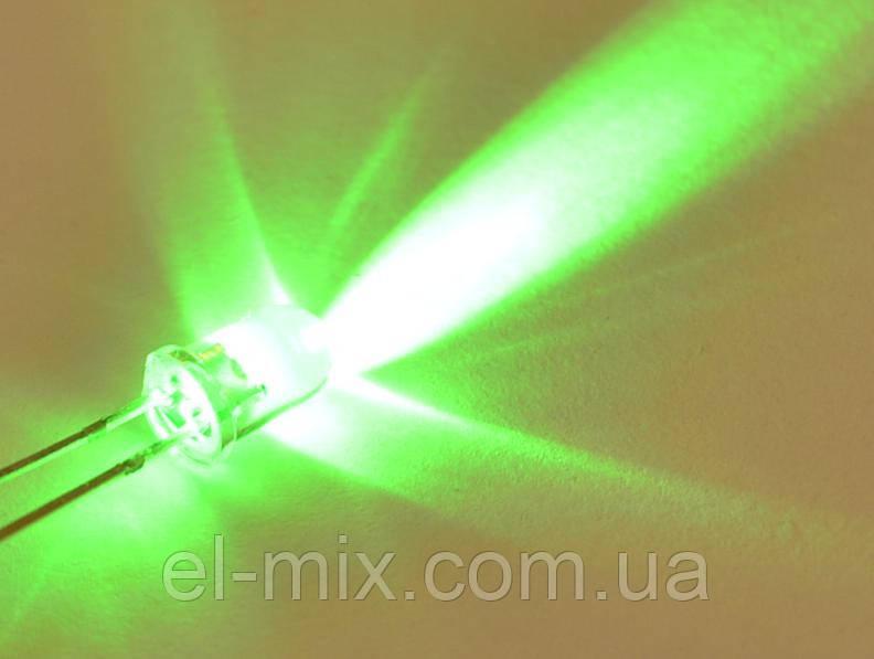 Светодиод  d5мм 12V зеленый прозрачный LED5042