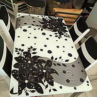 Распродажа! Обеденный Комплект  раскладной стол из стекла и 4 стульев Металлический каркас Турция