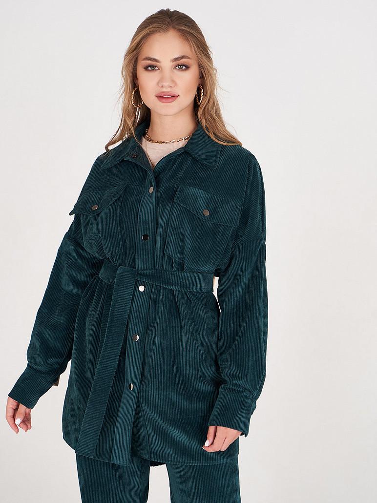 Куртка жіноча оверсайз смарагдова з вельвету SOLH MKSH2720