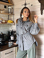 Объёмная теплая  куртка-рубашка с карманами, фото 1