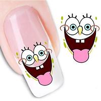 """Наклейка на ногти, наклейка для ногтей, ногтевой дизайн """"губка Боб"""" 24 шт набор"""
