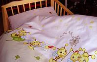 Комплект Постели в  кроватку новорожденного из 3-ед- розовые пчелы