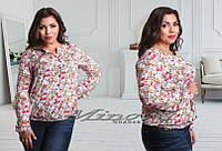 Рубашка штапель Цветы (размеры 52-56)