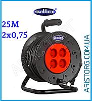 """Удлинитель SVITTEX на катушке (25м, 2х0,75 мм²) серия """"ЭКОНОМ"""" SV-040"""