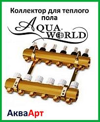 Коллектор для теплого пола AQUA WORLD на три выхода