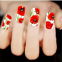 """Наклейка на ногти, наклейка для ногтей, ногтевой дизайн """"красные маки"""" 10 шт набор"""