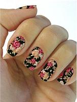 """Наклейка на ногти, наклейка для ногтей, ногтевой дизайн """"пионы"""" 10 шт набор"""