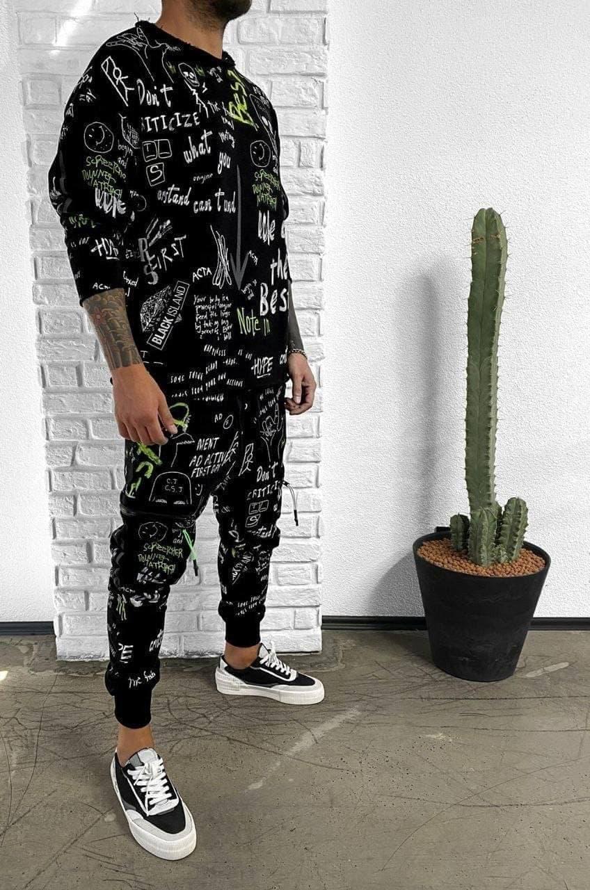 Мужской комплект штаны + свитшот we are the best (черный) с надписями и картинками оверсайз ada1150