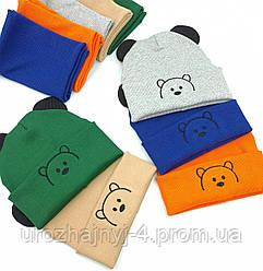"""Дитячий комплект шапка і хомут """"Ведмедик"""" р-46-50 код 5077 Glory-kids"""