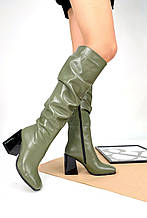 Женские кожаные сапоги с квадратным носком на каблуке (разные цвета)