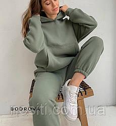 Жіночий теплий спортивний костюм на флісі з кишенями кенгуру об'ємному худі Осінь-Зима, розмір даної моделі