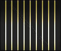 Реечный потолок: черный с зеркальной вставкой золото-зеркало