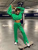 Стильный костюм с короткой кофтой и брюками на молниях, фото 1