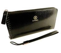 Кошелек-клатч кожаный на молнии Chanel 2012-1 черный