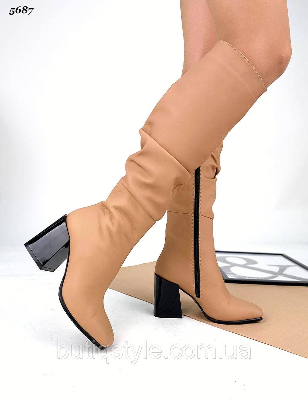 Жіночі чоботи карамель натуральна шкіра на підборах Демі