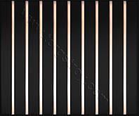 Реечный потолок: черный с зеркальной вставкой красное золото-зеркало