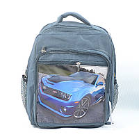 Рюкзак школьный модель P02 - синяя машина