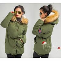 Парка куртка зеленая Крутая 019, модные куртки