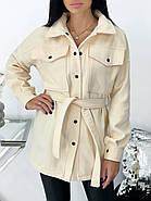 Класичне кашемірове жіноче пальто на заклепках і поясі, фото 2