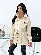 Классическое кашемировое женское пальто на заклепках и поясе, фото 4