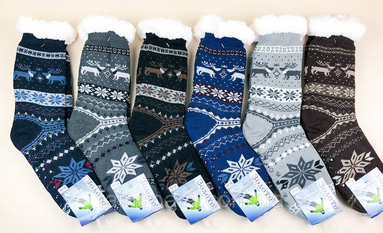 Хутряні чоловічі домашні шкарпетки з оленями нековзаючі