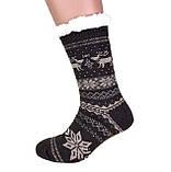 Хутряні чоловічі домашні шкарпетки з оленями нековзаючі, фото 3