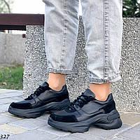 Шикарные кожаные кроссовки на платформе, фото 1