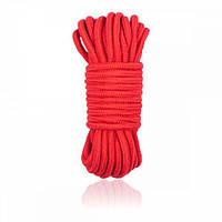 Хлопковая веревка шибари для связывания Bondage Rope 10m Red/Black