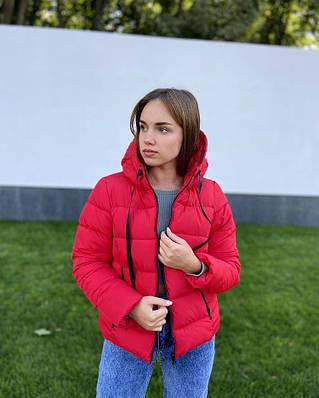 Короткая осенняя красная женская куртка с капюшоном