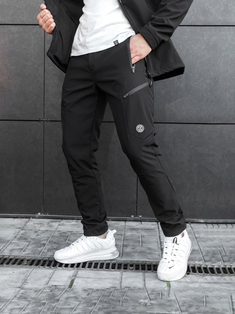 Штани чоловічі теплі карго чорні. Чоловічі штани утеплені чорного кольору.