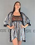 Жіночий велюровий комплект двійка халат, нічна сорочка 304-314 сірий., фото 2