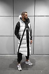 Мужской жилетка-парка демисезонная стильная (белая) крутая куртка без рукавов АKA5013