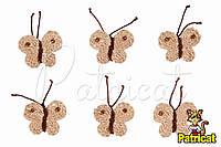 Мини декор Бабочка вязаная Карамель 3 см HandMade