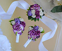 Комплект свадебных бутоньерок в фиолетовом цвете (для жениха, свидетеля и свидетельницы)